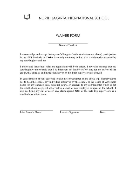 Class Trip 2 Waiver Form - waiver example Legal Documents - limited power of attorney forms