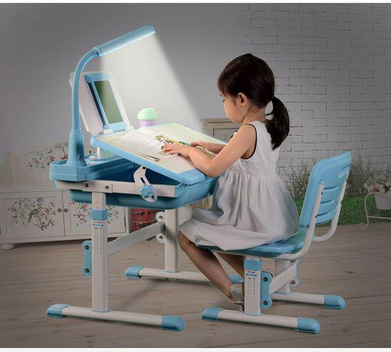 Kids Table Chair Children Study Desk School Desk Height
