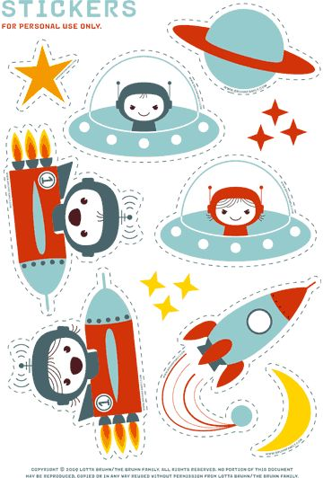 Recortables para niños: pegatinas ninos cohetes