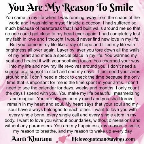 You Are My Reason To Smile Letter To My Boyfriend Soulmate Love Quotes Love Letter For Boyfriend