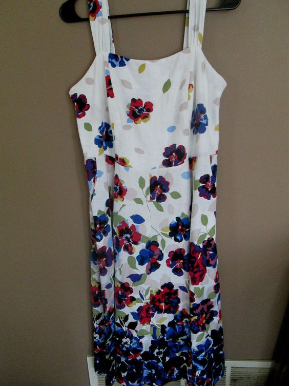 LANE BRYANT SUNDRESS - White w/Beautiful Cascading Multi-Color Flowers - 14 #LaneBryant #Sundress #Casual $34.99