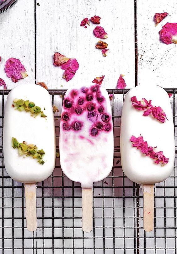 ... greek yogurt blueberries ice pops topped with pistachios and rose petals ...