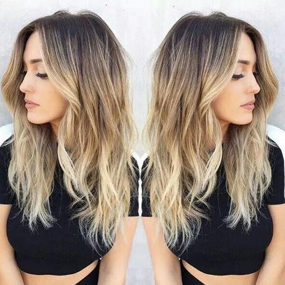 Dark roots balayage blonde