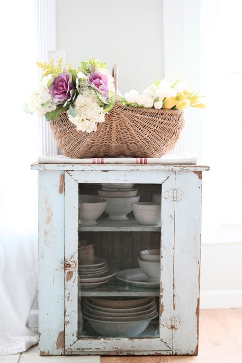 Vintage French apple basket and pie safe