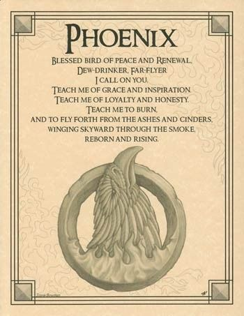Phoenix Evocation Parchment Book of Shadows Page or Poster!: