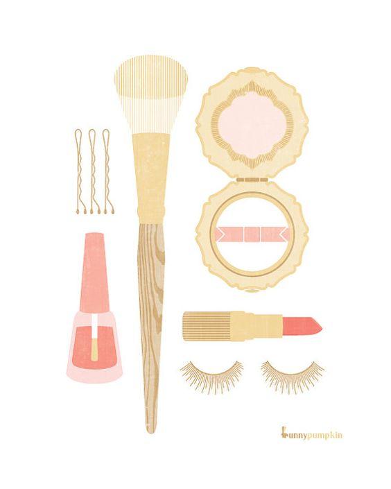 Powder room prints: Art Bourd, Beaty Illustrations, Makeup Print, Glam Illustrations, Mua Illustration, Cosmetic Illustration