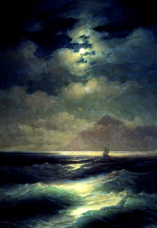 AIVAZOVSKY, Ivan (1817-1900)  Sea View by Moonlight (Морской вид при луне) 1878 Oil on canvas, 148 x 213 cm  Ed. Orig. Lic. Ed.