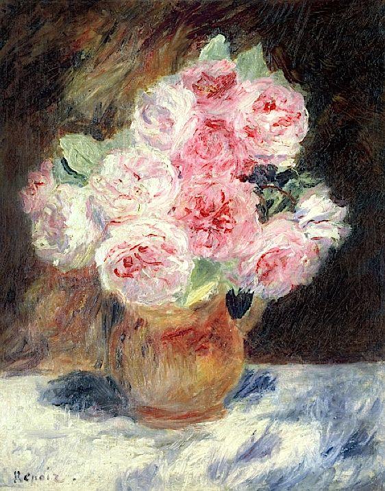 Roses, 1878 (oil on canvas), Pierre Auguste Renoir ✏✏✏✏✏✏✏✏✏✏✏✏✏✏✏✏  ARTS ET PEINTURES - ARTS AND PAINTINGS  ☞ https://fr.pinterest.com/JeanfbJf/pin-peintres-painters-index/ ══════════════════════  BIJOUX  ☞ https://www.facebook.com/media/set/?set=a.1351591571533839&type=1&l=bb0129771f ✏✏✏✏✏✏✏✏✏✏✏✏✏✏✏✏