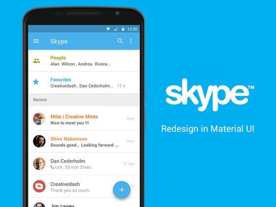 Skype - Material UI Concept (PSD)