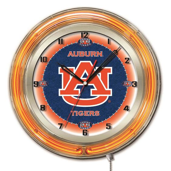 Auburn Tigers Large Logo Neon Clock