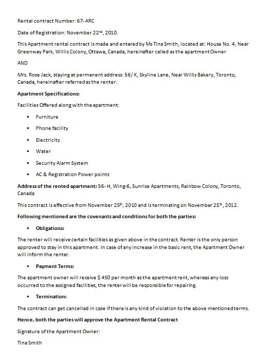 House Rental Contract Model Contract Template Contract Agreement Sample Resume