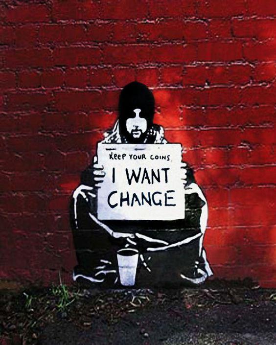 Banksy Canvas I Want Change Street Art Grafitti Premium Print