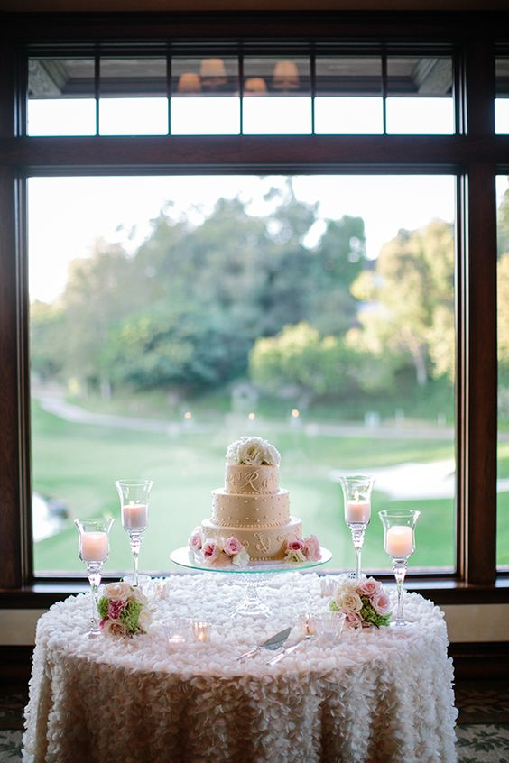 wedding cake table -- I like the table cloth
