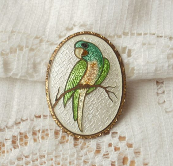 Beautiful Vintage Guilloche Parrot Brooch