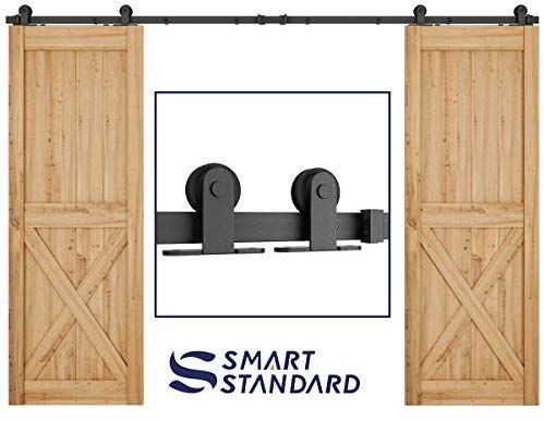 Amazon Com 10ft Heavy Duty Sturdy Double Door Sliding Barn Door Hardware Kit Super Smoothly A Sliding Barn Door Hardware Double Sliding Barn Doors Barn Door