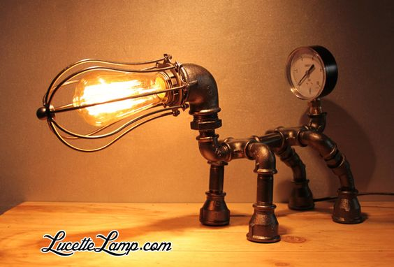 industrial pipe lamp plomberie dogpipe lampe m tal loft. Black Bedroom Furniture Sets. Home Design Ideas