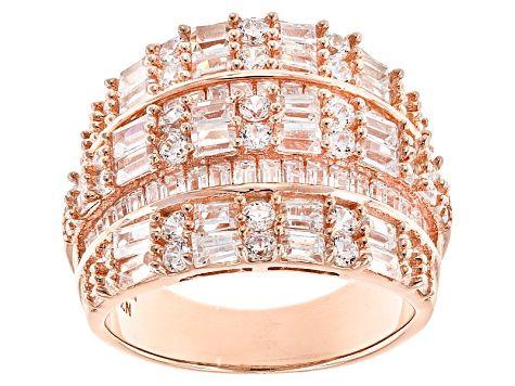 Jtv Diamond Rings >> White Cubic Zirconia 18k Rose Gold Over Sterling Silver Ring