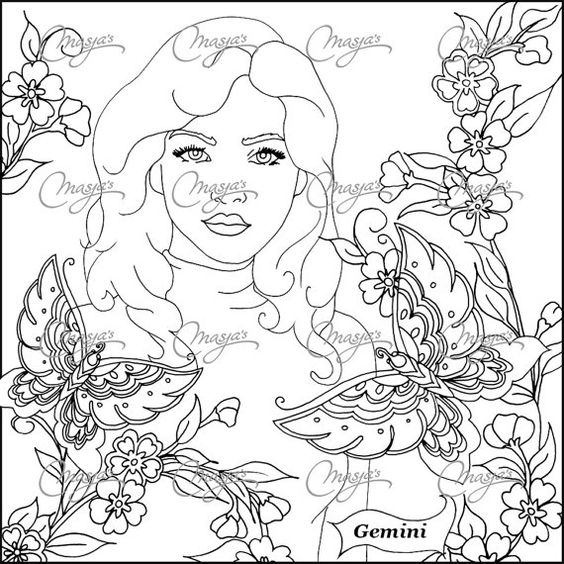 Masjas zodiac sign gemini coloring page made by masja van for Gemini coloring pages
