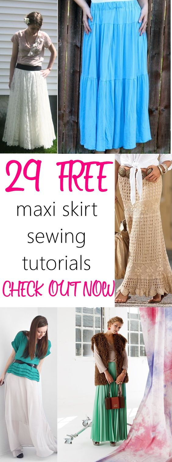 29 FREE maxi skirt sewing tutorials on sewsomestuff.com. AWESOME list of maxi skirts to sew this summer. LOVE THEM ALL. Such a beautiful collection. CHECK OUT NOW!