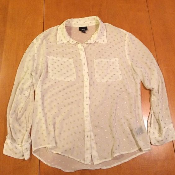 Gold polka dot button up Sheer blouse, boyfriend fit Mossimo Supply Co Tops Button Down Shirts
