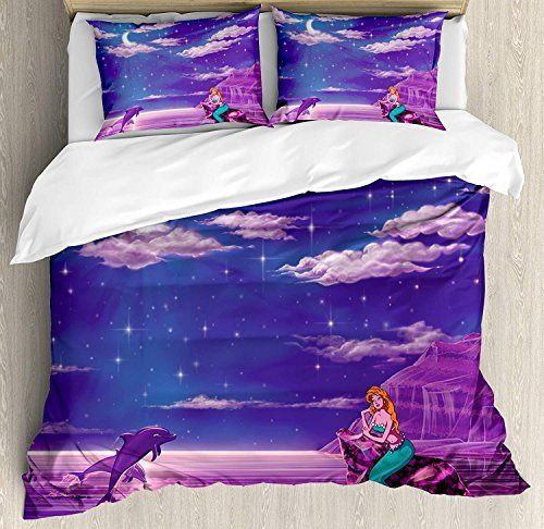 Mermaid Duvet Cover Set Luxury Soft Hotel Quality 4 Piece Twin Plush Microfiber Bedding Sets Cartoo Duvet Cover Sets Queen Size Duvet Covers Bed Duvet Covers