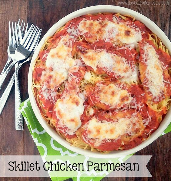 Skillet Chicken Parmesan Over Pasta - Serves 4 - 10 ounces spaghetti ...