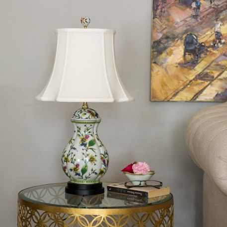 A traditional Chinese ceramic table lamp with lamp shade included.
