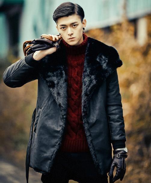 Black thicken winter warm fur coat men mens leather jacket men