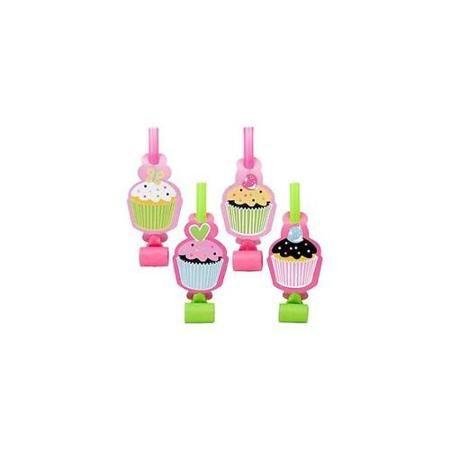 Creative Converting BB018651 Cupcake Birthday Party Blowers - 8-Pack