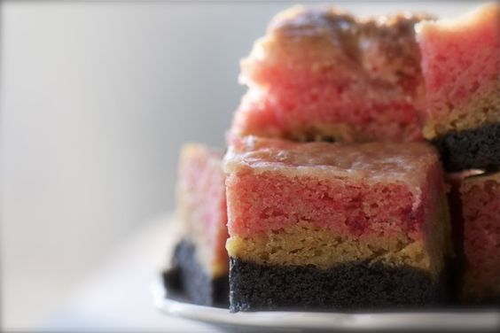 Neopolitan Gooey Cake Bars Recipe — Dishmaps