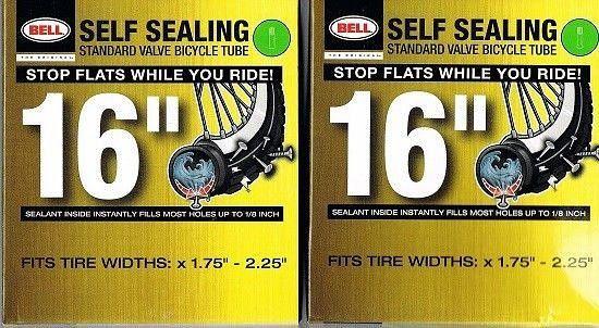 2 Bell Self Sealing Standard Valve Bicycle 16 Inner Tubes New Valve