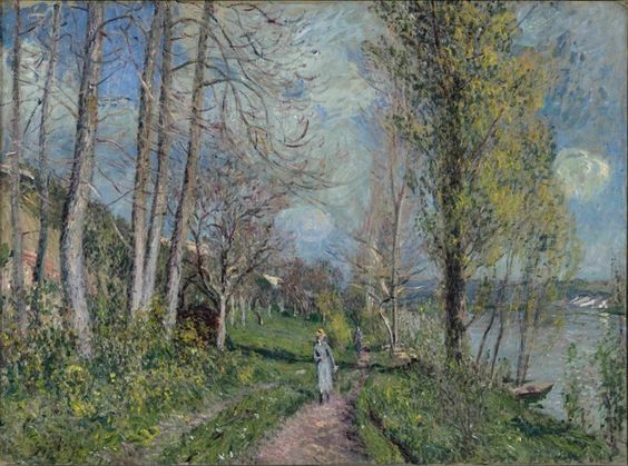 RA Impressionism from the Clark exibition Alfred Sisley:  Banks of the Seine at By, c. 1880-81