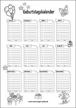 geburtstagskalender zum ausdrucken kindergartenideen. Black Bedroom Furniture Sets. Home Design Ideas