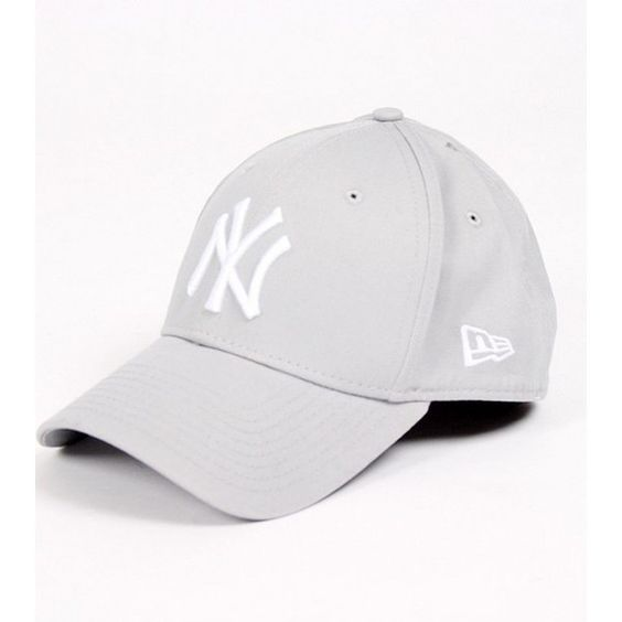 New Era 39Thirty League Basic Yankees grey cap ❤ liked on Polyvore featuring accessories, hats, cap hats, gray hat, ny yankees hat, gray cap and ny yankees cap