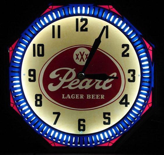 40s Vintage Pearl Beer Neon Spinner Clock Sign Texas