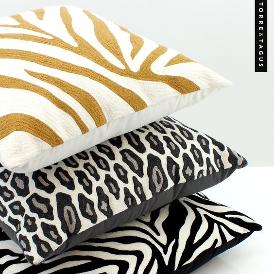 Bring home a Safari experience with these luxurious crewel embroidered cushions. #TorreAndTagus #YSS #TravelHomeDecor  #SafariCushion #ZebraPrintCushion #TigerPrintCushion #LeopardPrintCusion www.torretagus.com