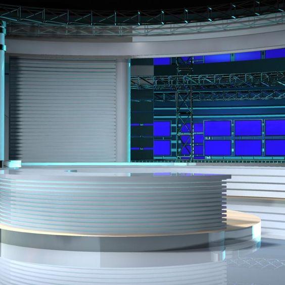 virtual tv studio set 3d model