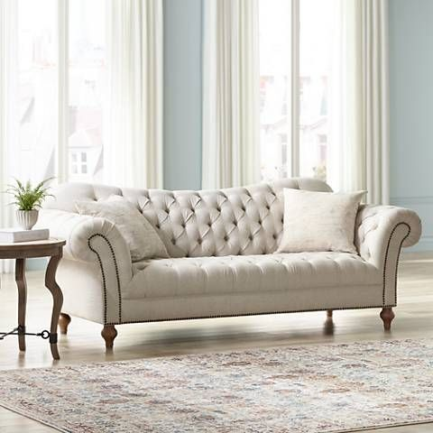 Vanna Brussel Linen Tufted Sofa with Decorative Pillows ...