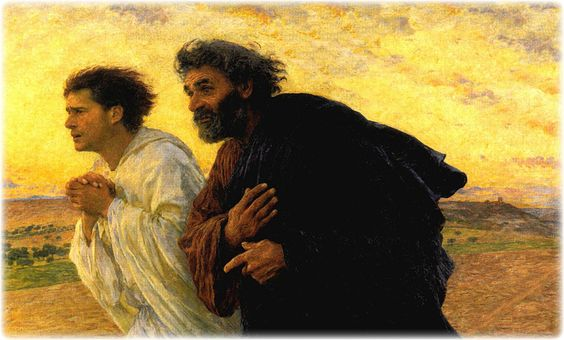 Jesus' Apostles Peter and John Running to the Tomb, original oil painting by Eugene Burnand, 1850-1921