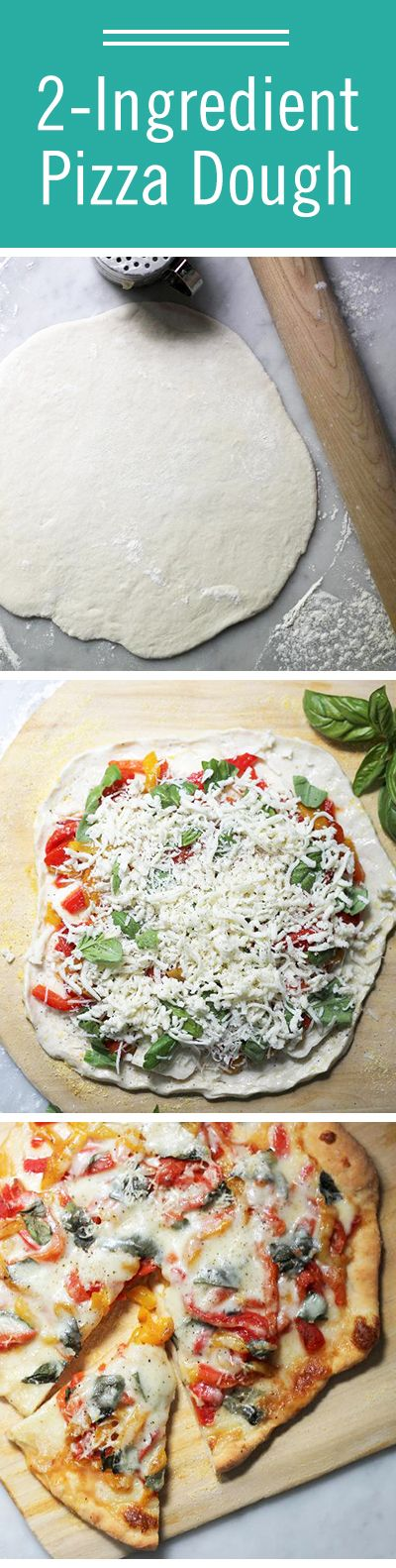 Forget about ordering out tonight — make your own pizza dough with only 2 ingredients! All you need is Greek yogurt and self rising flour. DIY pizza night would make a great summer activity for the kids.