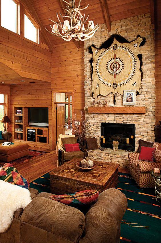 Southwestern decor in the blue ridge plan 1130 d http for Southwestern fireplaces