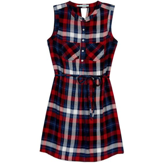 sleeveless plaid shirtdress ($33) ❤ liked on Polyvore featuring dresses, long shirt dress, blue plaid dress, no sleeve dress, tartan plaid dress and shirt dress: