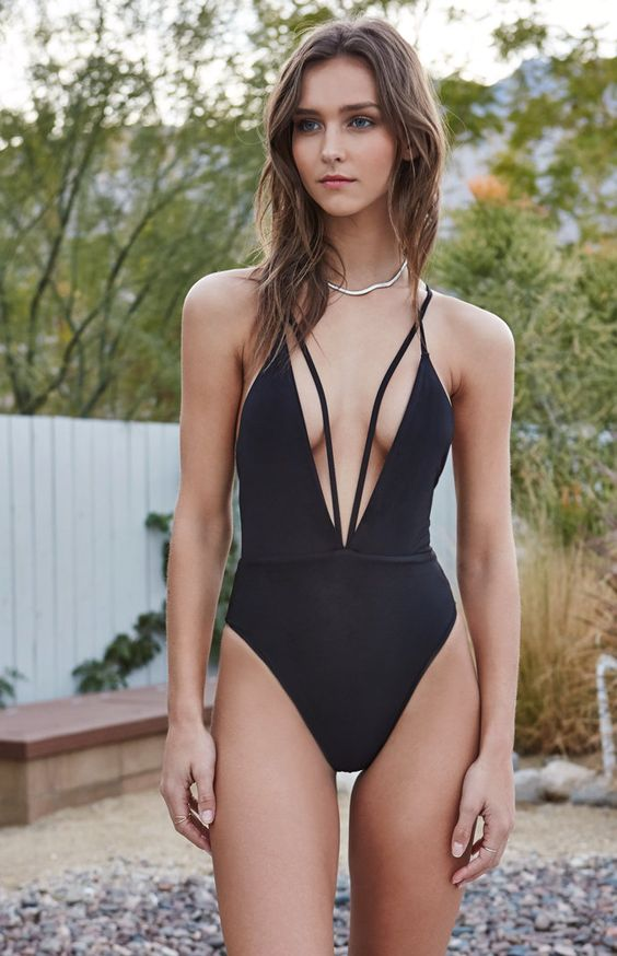 Trestles Strappy Deep V Neck One Piece Swimsuit Swimming