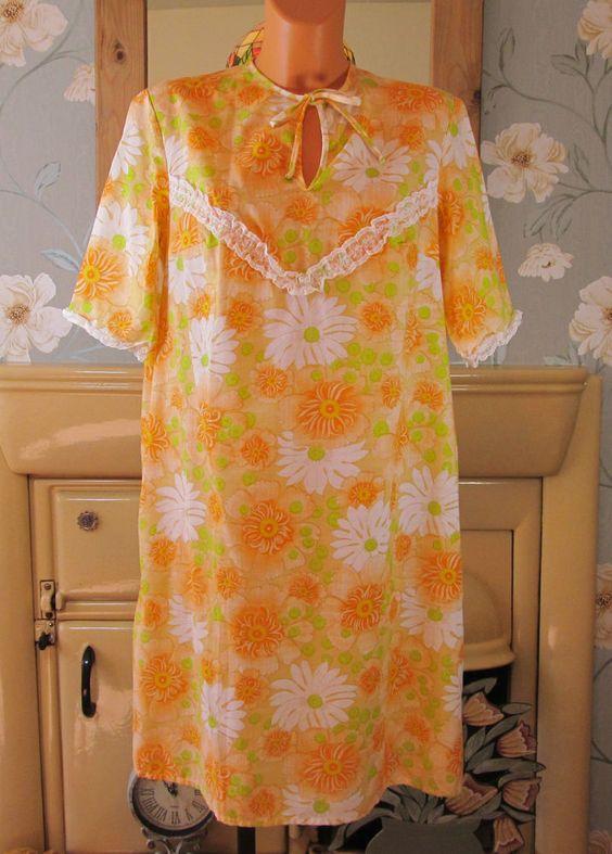 Vintage multi floral print soft sissy peignoir nightie nightgown L/XL R13196