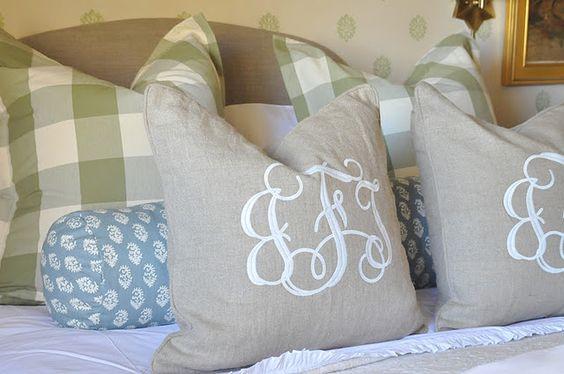 linen pillows with monograms