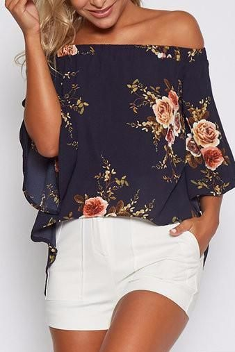 We are currently obsessing over this blouse. It adorned with floral print, off shoulder and splited design. Style it with mini skirts will be perfect. - Sexy style - Off the shoulder - Splited design - Floral print - Regular fit - Hand wash - Main: 100% Polyester - Package Content: 1 * Blouse