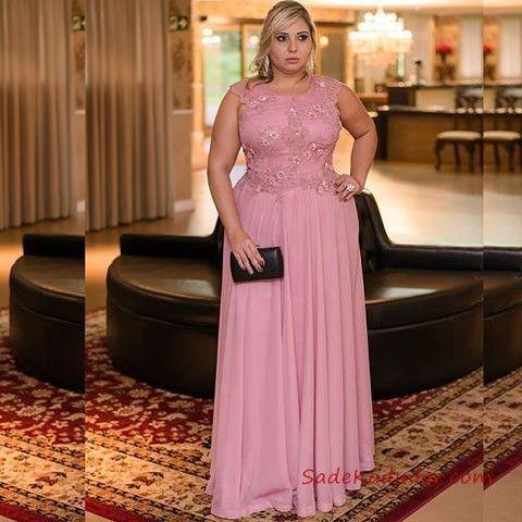 2020 Buyuk Beden Abiye Modelleri Pembe Uzun Kolsuz Klos Etek Islemeli Plus Size Dresses Aksamustu Giysileri The Dress
