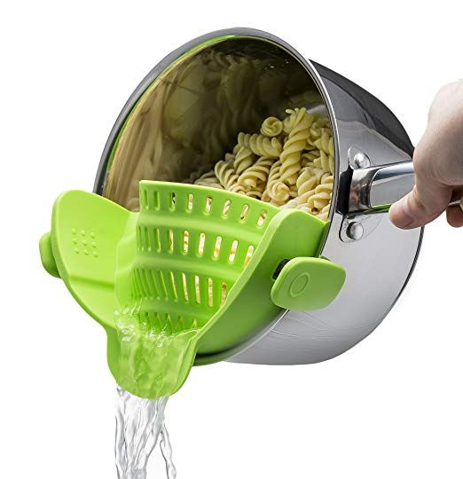 Snap N Strain Strainer Clip On Silicone Colander Fits All Pots And Bowls Lime Green Cool Kitchen Gadgets Kitchen Gizmos Kitchen Strainer