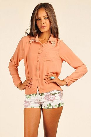 Pearl Collared Top - Pink