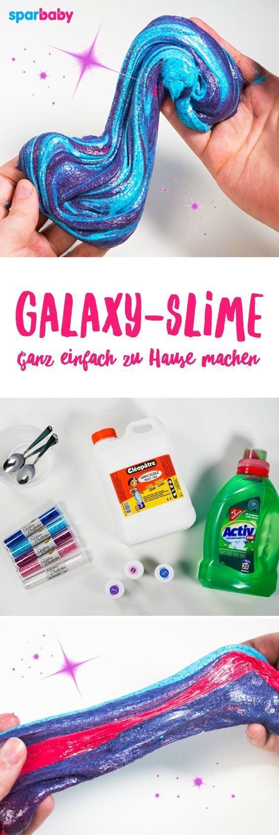 So kannst du Galaxy Slime selber machen - toll für Kinder zum